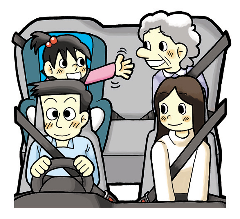 乗車する人みんながシートベルト等を着用しています