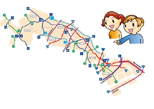 川崎市の主要な道路