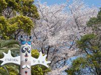 夢見ヶ崎動物公園入口にあるトーテムポールと桜
