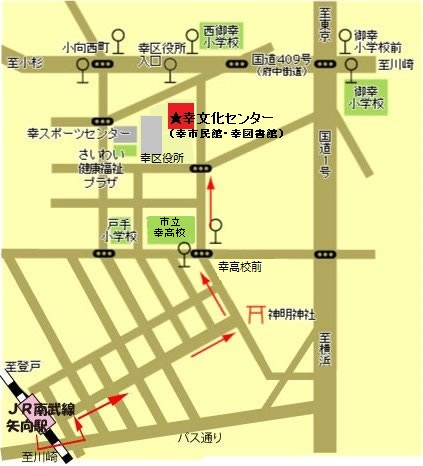 JR矢向駅からの案内図